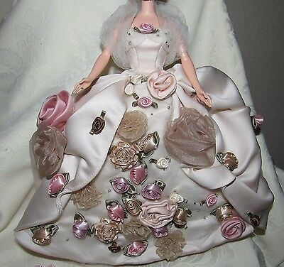 Barbie Antique Rose Gown Dress Shawl Underskirt Shoes Fashion Lot For Doll