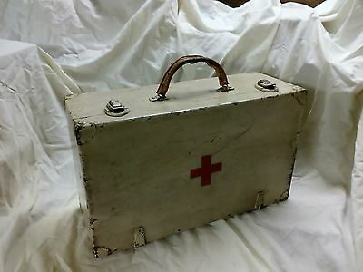 Vintage wooden box first aid ambulance medical photo prop