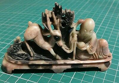 Antique Vintage Soapstone Chinese immortal with deer