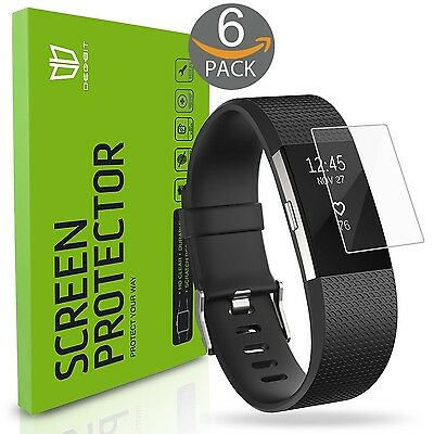 Fitbit Charge 2 Screen Protector Full Coverage Scratch Dust Protection Pack of 6