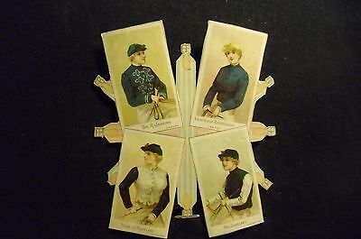 victorian trade card # 4247 - LADY JOCKEYS COLLAGE - CIGARETTE CARD ?