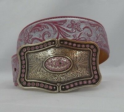 Justin New SILVER BROCADE Pink Leather Belt  Size 28  NWT C20367