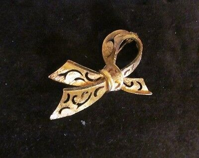 Vintage signed CORO gold tone 1/2 bow brooch