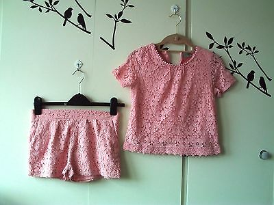 NEXT PINK GIRLS LACE SHORTS 12 years fully lined   with free top