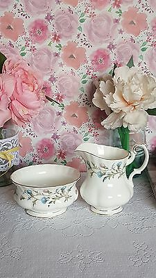 Royal Albert brigadoon bone china sugar bowl & milk jug set