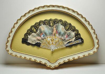 Antique / Vintage Lace  MOP like Hand Painted Fan Shadow Box Framed