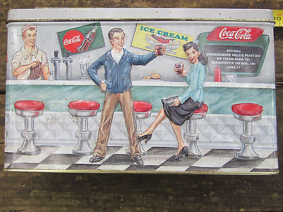 Coca Cola Soda Fountain Collectible Tin Box Vintage Man Cave