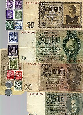 Nazi Germany Banknote, Coin And Stamp Set  # 54
