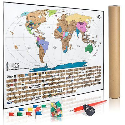 Scratch Off World Travel Tracker Map - with Free 50 Flag Pins, Pen, Pick & Gift