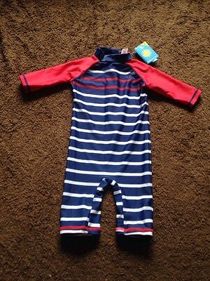 BNWT Baby Boys 12-18 Months Blue Multi UPF 40+ Swim Suit