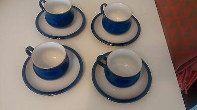 Denby Imperial Blue Cups and Saucers 4 off