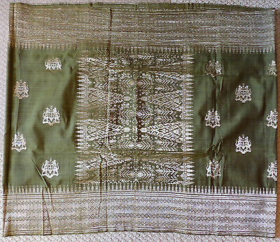 Vintage Indonesian Man's Ceremonial Sarong, Green With Silver Brocade, Crest