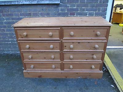 Heavy Old Pine Farmhouse 8 Drawer Sideboard