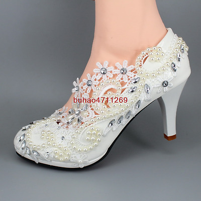 """3"""" 4 """" heel white lace crystal pearls Wedding shoes pumps bride shoes size 5-11"""