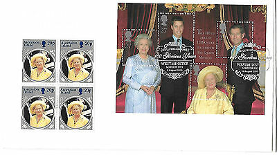 Queen Mother 2000 Unusual Westminster s/pmk with blk 4 Ascension Island QM Stps