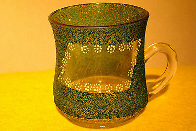 """Souvenir Green Crackle Glass Cup, """"lubec, Maine"""" - Very Nice"""