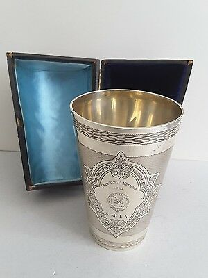 Large Quality Antique Solid Silver Crested & Cased Engraved Beaker. Lon. 1884.