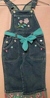 Girls size 4 Denim Overalls with Machine Floral Embroidery