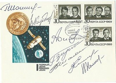 Soyuz-6,-7,-8 all Crewmembers -7 cosmonauts - autographed space cover