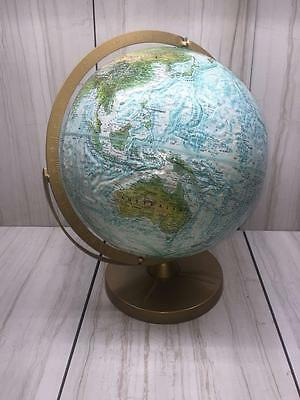 REPLOGLE WORLD OCEAN SERIES RAISED TOPOGRAPHY Globe on Metal Stand Vintage USA