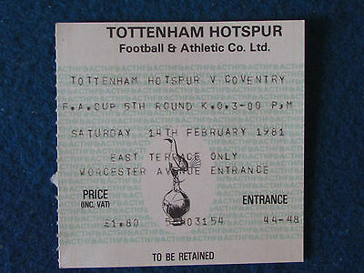 Tottenham Hotspur v Coventry City - 14/2/81 - FA Cup 5th Rd - Ticket