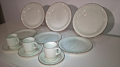 "Poole Pottery Broadstone 3 X 10.5"" Plates, 8.5"" Plates, Cups & Saucers"