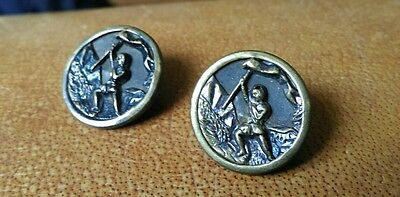 set of 2 vintage brass buttons with man & flag on mountain detail, Everest?
