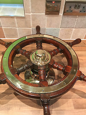 Original Vintage Wood Brass Ships Wheel Maritime Marine Nautical Boat