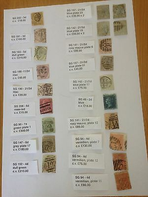 Stamps, Great Britain - Queen Victoria - 20 stamps high C.V. - £1,800