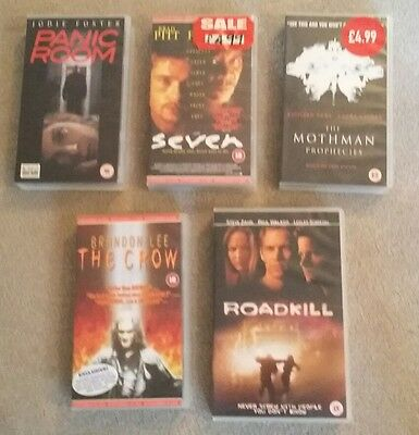 Job Lot, 5 VHS Videos Films - including Seven, Panic Room, The Crow and Roadkill