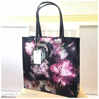 Ted Baker NEW PVC Black Large Ethereal Posie Print Shopper Icon Bag Floral Pink