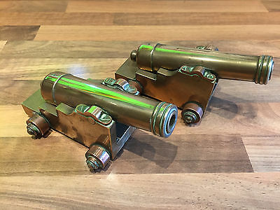 Pair of Vintage Brass Ships Signal Cannons Maritime Marine Nauical Boat