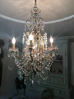 ANTIQUE VTG FRENCH ITALIAN Vintage beaded chandelier LAMP CRYSTAL PRISMS