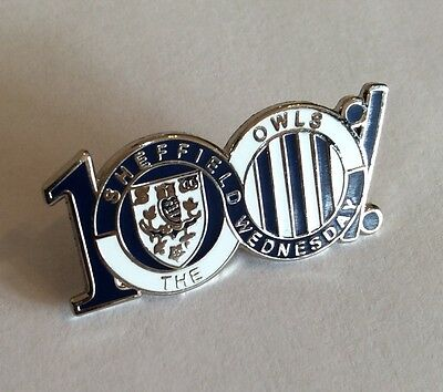 "SHEFFIELD WEDNESDAY Football Club Badge FC ""SWFC 100% OWLS"" SUPPORTERS PIN"