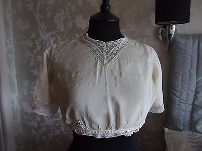 Edwardian antique silk camisole top blouse lace trim
