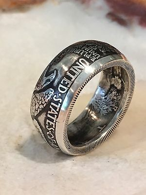 Walking Liberty Silver Dollar Coin Ring Men's Size 8-10 Antiqued 90% Silver