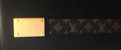 Gold Buckle Monogram and Damier Louis Vuitton Belt - size 38 inches - 95 cm
