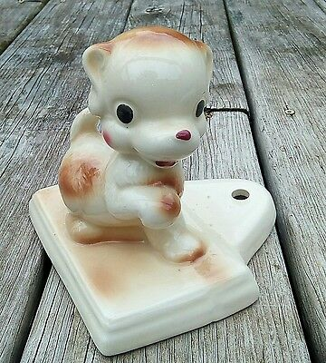 RARE FIND Vintage Rempel Pottery Big Eyes Perky Puppy Dog Figurine Base 40s 50s