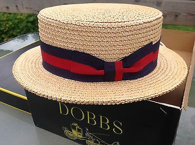 Vtg Men's Boater Straw Hat Red&Navy ribbon/Loop, Italy, 7 1/4, with Dobbs box