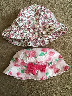 2 X Baby Girls Summer Hats With Floral Pattern - Size 1-2 Years
