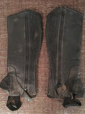** Black HORSE RIDING HALF CHAPS GAITORS Size Small Adult / Teen