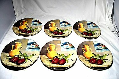 6 Le Voyageur Gien France China Plates Ocean Sea Fruit French Scenery Excellent