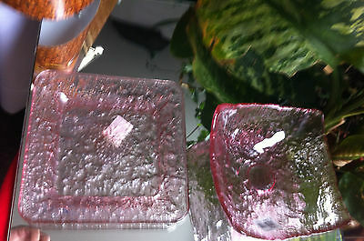 Pink Glass Square Plate & Bowl Set of 2