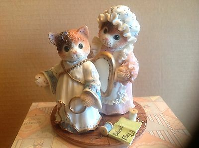 "Enesco Calico Kittens 1996 Figurine "" You've Earned Your Wings"" 4936/5000"