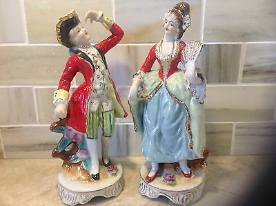 Vintage couple figurines or figures in formal colonial wear made in Japan
