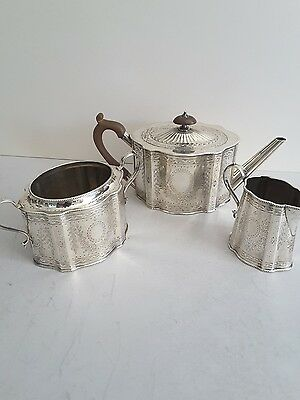 Attractive Antique Solid Silver Shaped &  Engraved 3- Pce. T- Set. Birm. 1896.