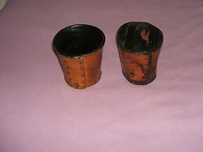 Vintage Unusual Hand Riveted Leather Dice Cups