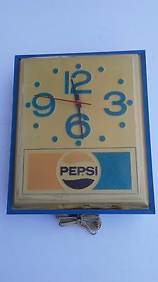 Vintage Pepsi-Cola Light Up Clock Sign - Clock Works!!!