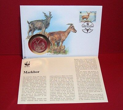 WWF 30 Years OFFICIAL MEDAL--COIN PNC 1986 FDC 1995 Markhor Uzbekistan