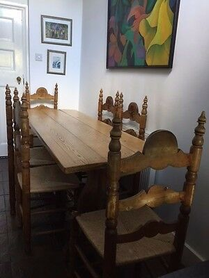 Vintage antique refectory dinner table solid wood & 6 matching caned chairs
